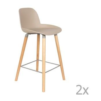 Set 2 scaune bar Zuiver Albert Kuip, înălțime scaun 65cm, bej - gri imagine