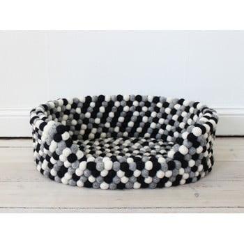 Pat cu bile din lână, pentru animale de companie Wooldot Ball Pet Basket, 60 x 40 cm, alb - negru imagine