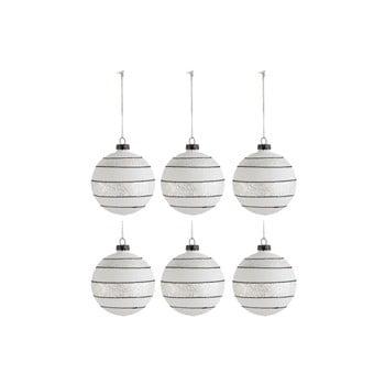 Set 6 globuri din sticlă pentru Crăciun J-Line Xmas, ø 8 cm, alb - negru bonami.ro