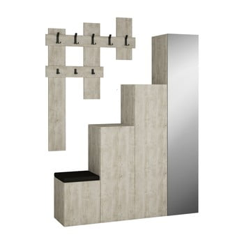 Set dulap și cuier de perete Homitis Up, gri poza bonami.ro