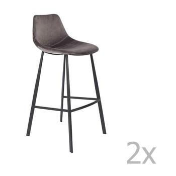 Set 2 scaune bar cu tapițerie catifelată Dutchbone, înălțime 106 cm, gri imagine