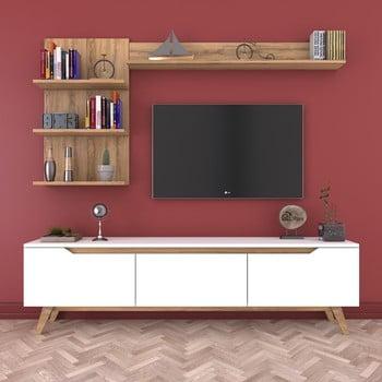 Set comodă TV și 2 rafturi de perete Wren Nut, alb-natural bonami.ro