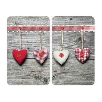 Set 2 protecții din sticlă pentru aragaz Wenko Heart,52x30cm poza bonami.ro