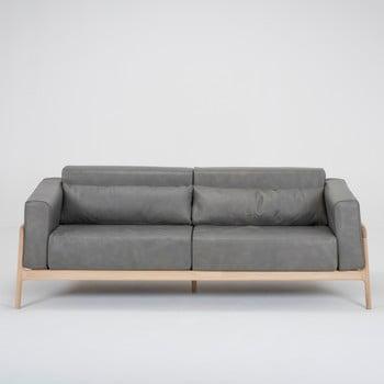 Canapea din piele bovină cu structură din lemn masiv de stejar Gazzda Fawn, 210 cm, gri închis imagine