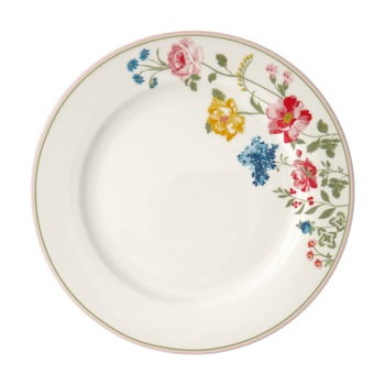 Farfurie din gresie ceramică Green Gate Thilde,ø25,3cm, alb, motive florale poza bonami.ro