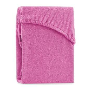 Cearșaf elastic pentru pat dublu AmeliaHome Ruby Siesta, 180-200 x 200 cm, fucsia poza bonami.ro