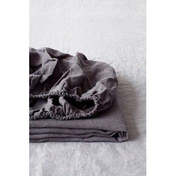 Cearșaf elastic din in Linen Tales, 180 x 200 cm, gri închis imagine