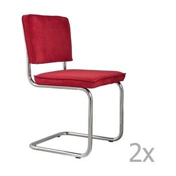 Set 2 scaune Zuiver Ridge Rib, roșu imagine