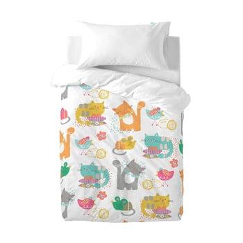 Lenjerie de pat din bumbac pentru copii Moshi Moshi Cat&Mouse, 100x120cm bonami.ro