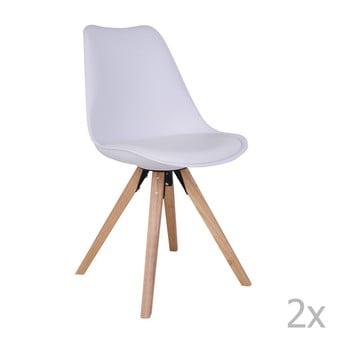 Set 2 scaune cu picioare din lemn de arbore de cauciuc House Nordic Bergen, alb poza bonami.ro