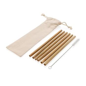 Set 6 paie reutilizabile din bambus pentru băuturi cu perie și husă XD Collection poza bonami.ro