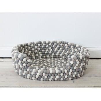 Pat cu bile din lână, pentru animale de companie Wooldot Ball Pet Basket, 60 x 40 cm, alb - gri deschis imagine