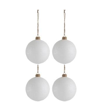Set 4 globuri din sticlă pentru Crăciun J-Line Xmas, ø 10 cm, alb bonami.ro