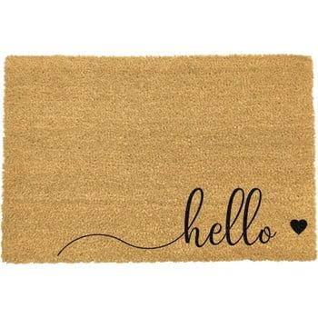 Covoraș intrare din fibre de cocos Artsy Doormats Hello Scribble, 40 x 60 cm, negru poza bonami.ro