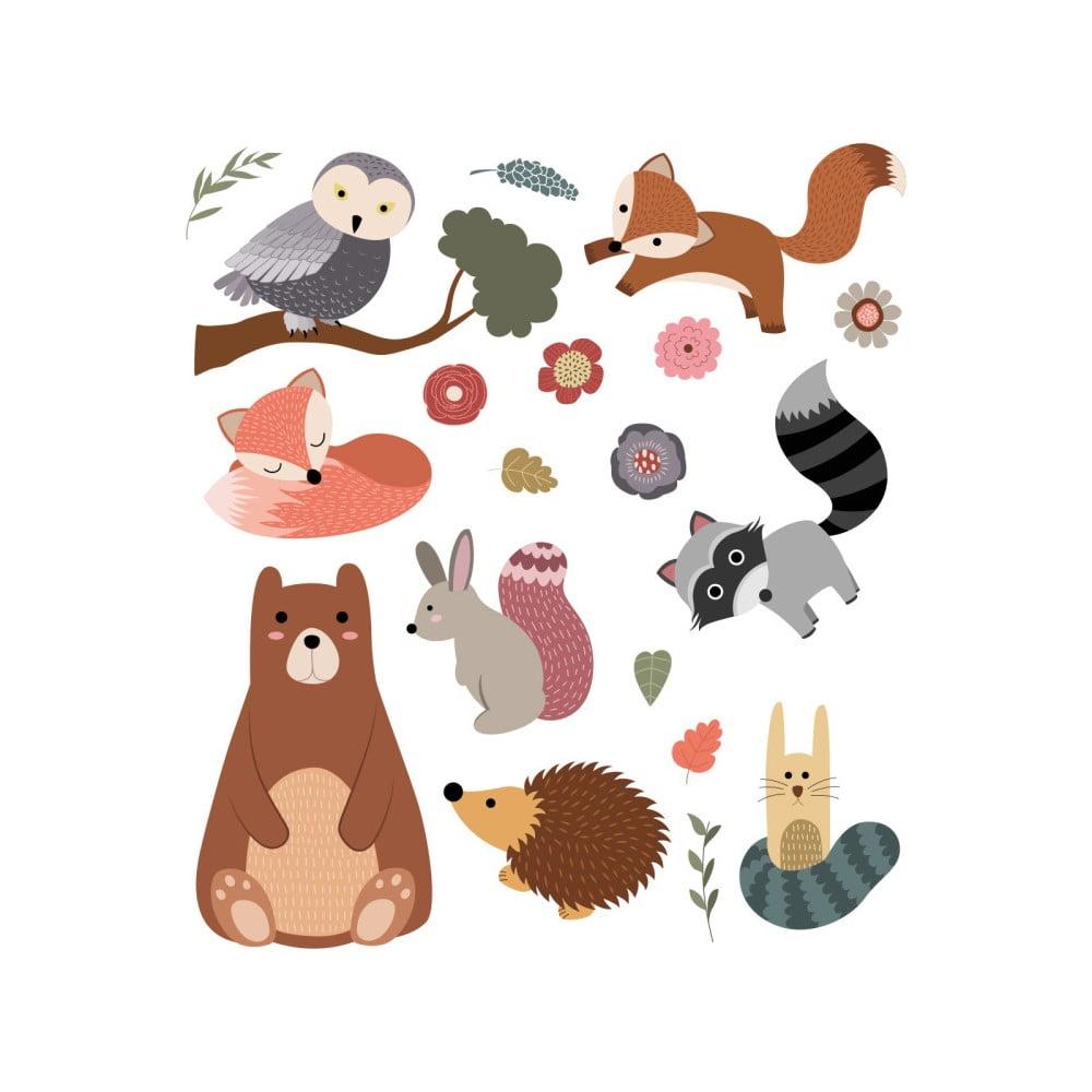 Set autocolante pentru perete Ambiance Scandinavian Animals Bear and his Friends