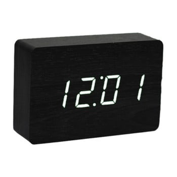 Ceas deșteptător cu LED Gingko Brick Click Clock, negru-alb bonami.ro