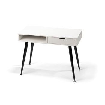 Birou cu structură neagră din metal loomi.design Diego, alb, 100 x 50 cm bonami.ro