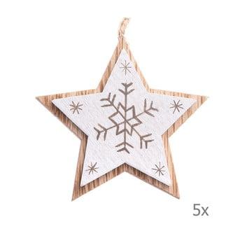 Set 5 decorațiuni suspendate din lemn în formă de stea Dakls, lungime 7,5 cm, alb bonami.ro