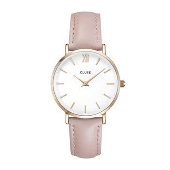 Ceas damă, curea din piele Cluse La Minuit, roz bonami.ro