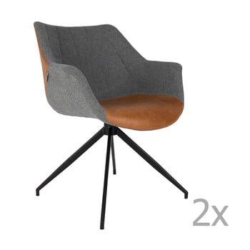 Set 2 scaune Zuiver Doulton, gri - maro poza bonami.ro
