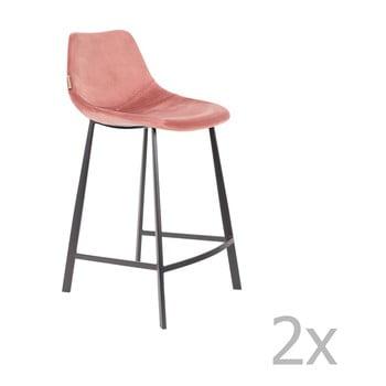 Set 2 scaune bar cu tapițerie catifelată Dutchbone, înălțime 91 cm, roz imagine