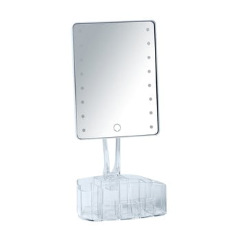 Oglindă cosmetică cu ancadrament LED și organizator pentru machiaje Wenko Trenno, alb bonami.ro