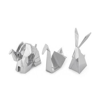 Set 3 suporturi pentru inele Umbra Origami, argintiu poza bonami.ro