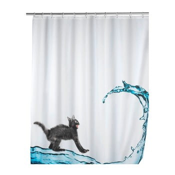 Perdea duș Wenko Black Cat, 180 x 200 cm poza bonami.ro