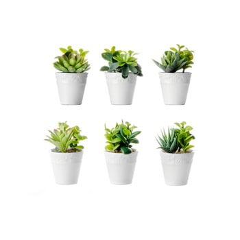 Set 6 flori artificiale cu ghiveci Unimasa poza bonami.ro