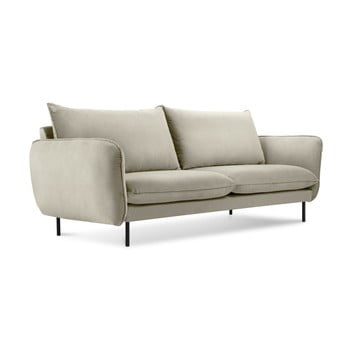 Canapea țesătură catifea Cosmopolitan Design Vienna, 160 cm, bej imagine