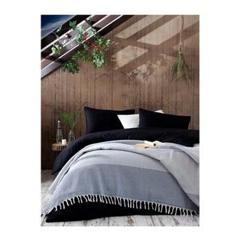 Cuvertură din bumbac pentru pat EnLora Home Anna Yatak Örtüsü, 190 x 250 cm, alb - negru bonami.ro