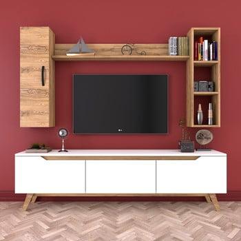 Set comodă TV, 2 rafturi și dulap de perete Wren, natural-alb poza bonami.ro