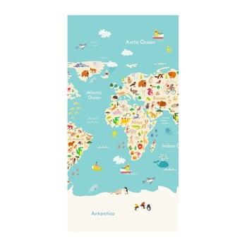 Prosop de plajă cu imprimeu Good Morning Worldmap, 150 x 75 cm bonami.ro