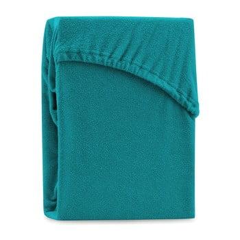 Cearșaf elastic pentru pat dublu AmeliaHome Ruby Siesta, 180-200 x 200 cm, turcoaz poza bonami.ro