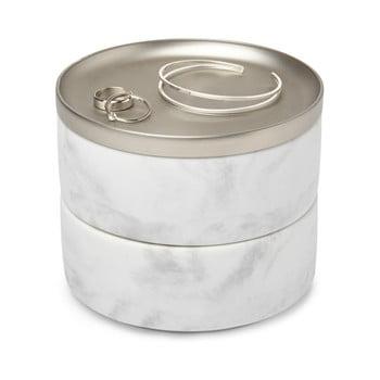 Cutie pentru bijuterii cu decor din marmură și capac argintiu Umbra Tesora bonami.ro