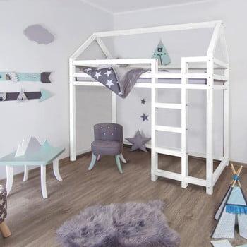 Pat înalt din lemn pentru copii Benlemi Nestys,120x200cm, alb imagine