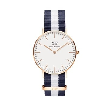 Ceas Daniel Wellington Glasgow, ⌀ 36 mm, alb-roz auriu imagine