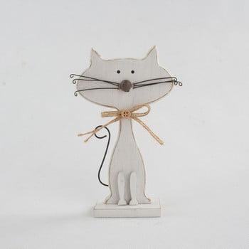 Decorațiune din lemn în formă de pisică Dakls Cats, înălțime 18cm, alb poza bonami.ro