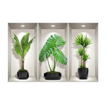 Set 3 autocolante 3D pentru perete Ambiance Green Plants bonami.ro
