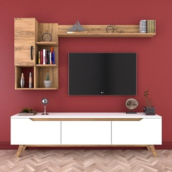 Set comodă TV și 2 rafturi de perete Wren Nut, natural-alb bonami.ro