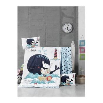Set lenjerie cu cearșaf din bumbac pentru copii On The Sea, 100 x 150 cm poza bonami.ro