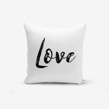 Față de pernă cu amestec din bumbac Minimalist Cushion Covers Love Writing, 45 x 45 cm bonami.ro