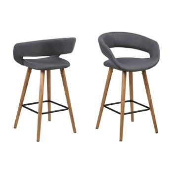 Set 2 scaune de bar Actona Gill, gri închis imagine