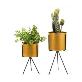 Set 2 suporturi din fier pentru flori PT LIVING Pedestal, galben ocru bonami.ro