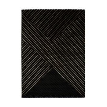 Covor Universal Gold Stripes, 160 x 230 cm, negru imagine