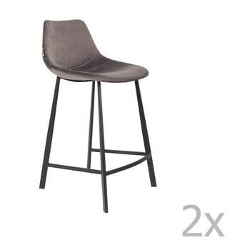 Set 2 scaune bar cu tapițerie catifelată Dutchbone, înălțime 91 cm, gri bonami.ro