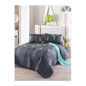 Set cuvertură pat și față de pernă din amestec de bumbac Trace Anthracite, 160 x 220 cm bonami.ro