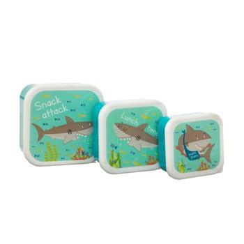 Set 3 cutii pentru prânz Sass & Belle Shelby the Shark, albastru poza bonami.ro