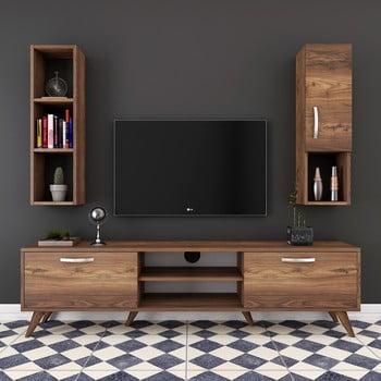 Set comodă TV, dulapuri și rafturi de perete Wren Nut, natural bonami.ro