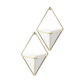 Set 2 ghivece suspendate din ceramică și cadru auriu Umbra Trigg bonami.ro